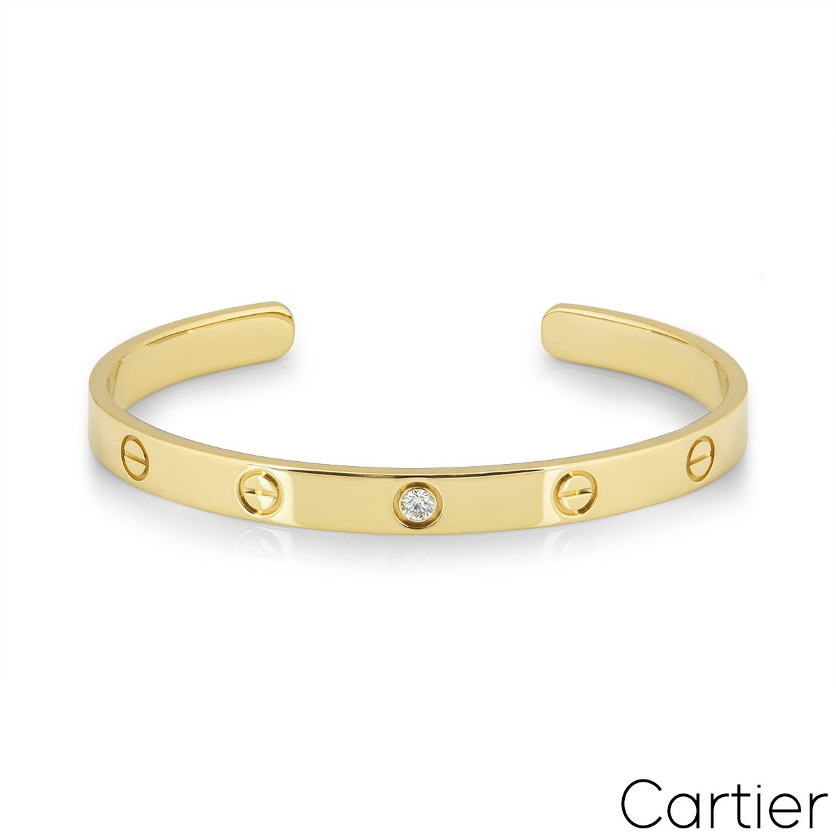 Cartier Yellow Gold Diamond Love Cuff Bracelet Size 17 B6029817